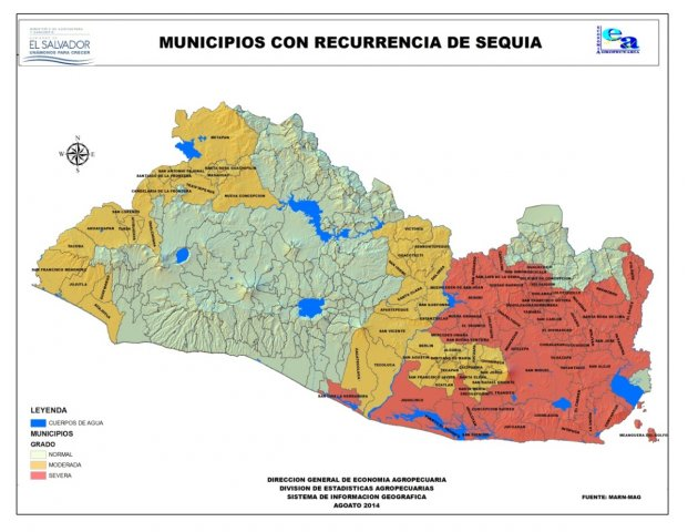 Municipios con recurrencia de Sequía, 2014